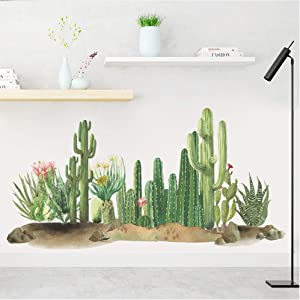 Tropical Cactus Nature Green Plants Flowers Vinyl Wall Stickers Removable PVC Wall Decals Art Picture Decorations Decor for Teens Boys Girls Bedroom Living Room Murals