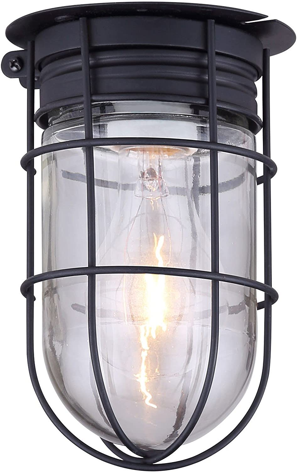 Amazon Com Outdoor Caged Light Barn Ceiling Exterior Wall All Weather With Cage Black Home Improvement