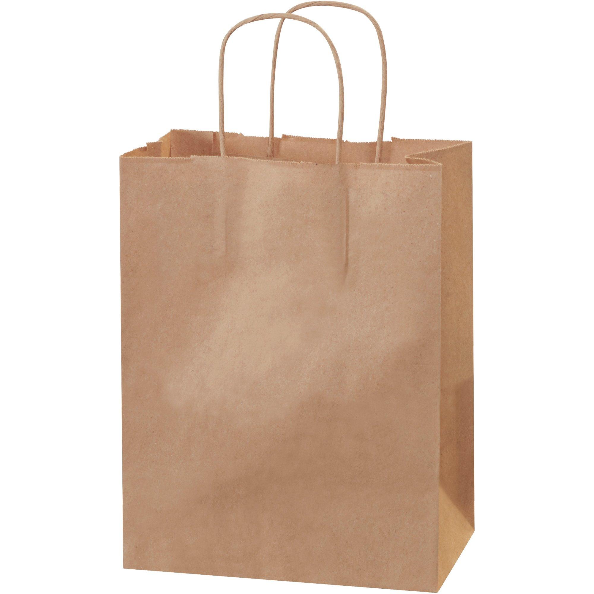 Paper Shopping Bags, 8'' x 4 1/2'' x 10 1/4'', Kraft, 250/Case