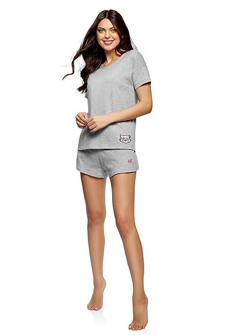 oodji Ultra Mujer Camiseta de Estar por Casa con Decoración: Amazon.es: Ropa y accesorios