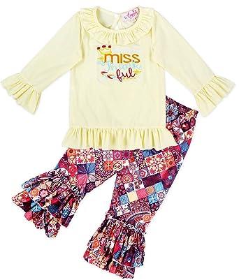 022b1e52c7d0 Angeline Girls Fall Thanksgiving Little Miss Thankful Ruffle Pant Set 9-12M