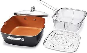 "Gotham Steel 1492 - XL 11"" Copper Deep Square All in One 6 Qt Casserole Chef's Pan- 4 Piece Set"