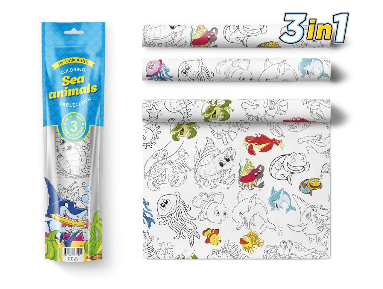 3 in 1 Large Coloring Tablecloth Water Resistant Poster for Kids and Toddlers Colorable Frame «Sea Animals» Fun Painting Activity for Party and Decor Paper Table Doodle Board by PolimerUnion