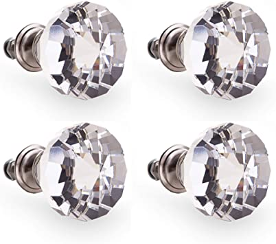 BINO 4-Pack Crystal Drawer Knobs Bronze Dresser Knobs for Dresser Drawers Crystal Knobs and Pulls Handles 38mm 1.5 Diameter