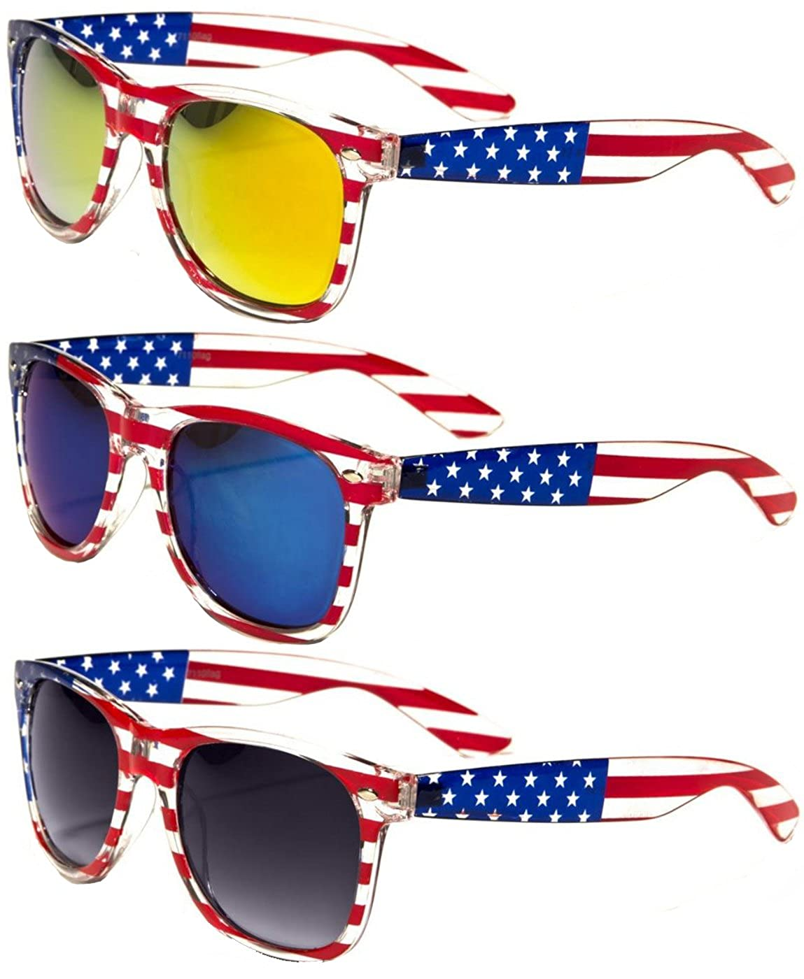 754dcbba498b Lens width  50 mm. Comes with it s own Vision World Microfiber storage  pouch. Transparent classic wayfarer frame with USA flag print