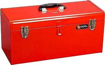 Excel Tb140-Red caja de herramientas de acero con 1 bandeja ...