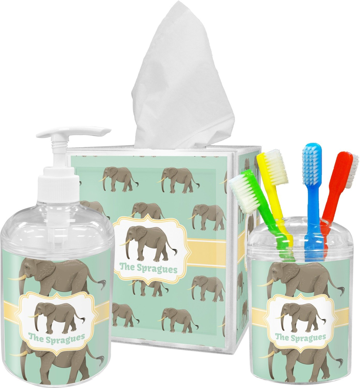 Amazon.com: Elephant Bathroom Accessories Set (Personalized): Home U0026 Kitchen