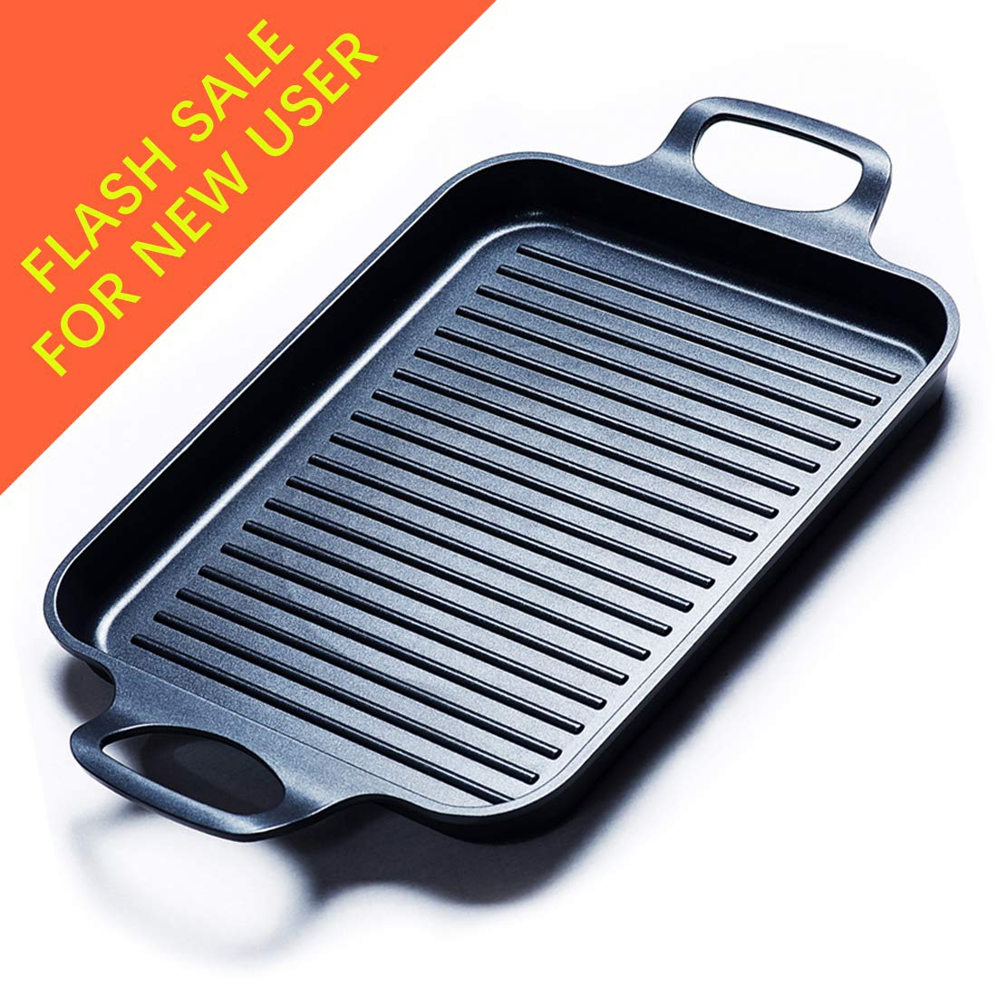 Grill Pan Stove Top Grill Induction Griddle, Grill Griddle Pan with Dual Handles by S.KITCHN by S.KITCHN