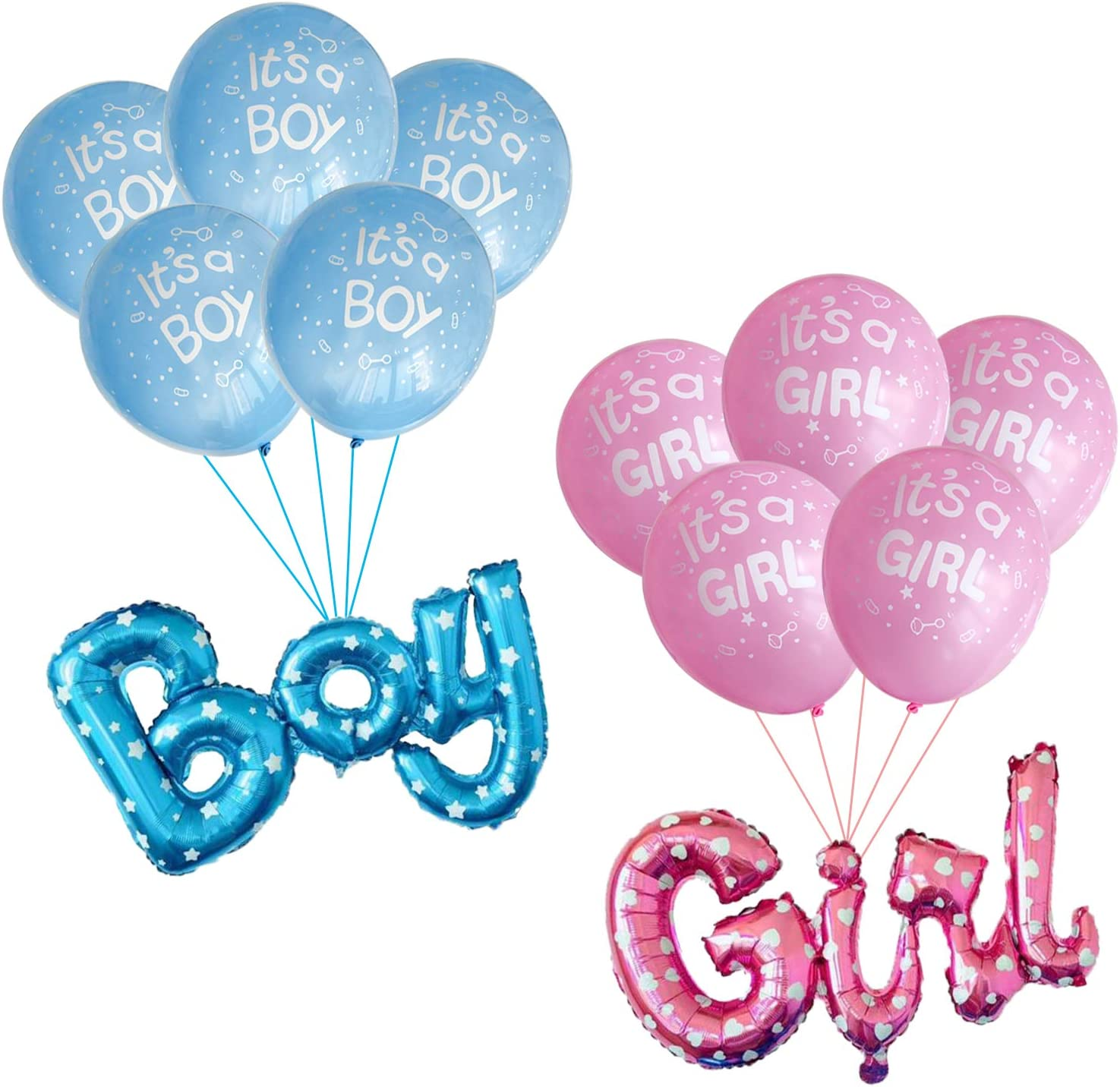 Its a Boy Girl Balloons Latex Foil Baby Shower Gender Reveal Party Decorations