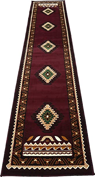 Rugs 4 Less Collection Southwest Native American Indian Runner Area Rug  Design R4L 143 Burgundy /