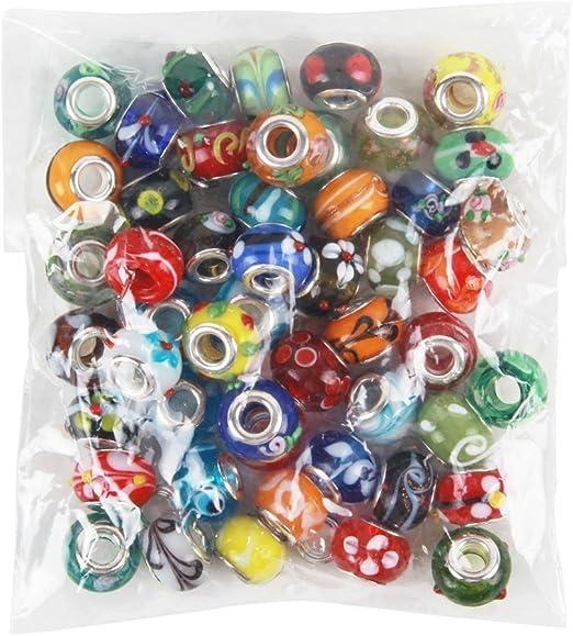 50//100Pcs Wholesale Bulk Murano Glass Charm Spacer Bead For Bracelets Mixed Lot