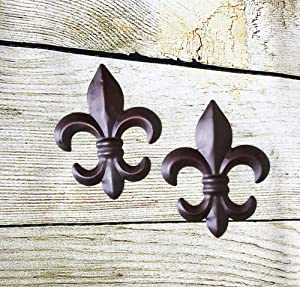 New Set of 2 Tin FLEUR DE LIS Wall Plaque Hanging Home Decor