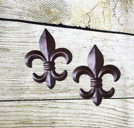 New Set Of 2 Tin Fleur De Lis Wall Plaque Hanging Home Decor