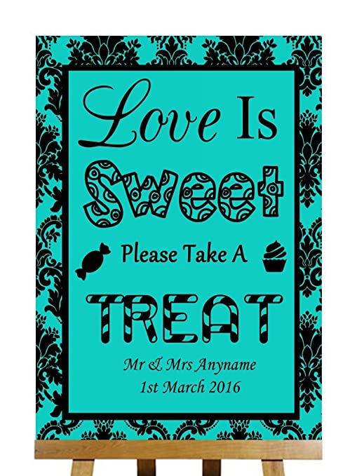 Turquesa damasco negro amor is Sweet Candy Bar carro bufé con texto en inglés Small A5