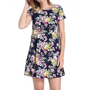 4249934d9aeac0 Damen Blumen Kleider,Kanpola Frauen Elegant Blumenkleid O-Ausschnitt  Abendkleid Plus Size Floralen Druck Minikleid Cocktailkleider Maxikleider  Partykleid ...