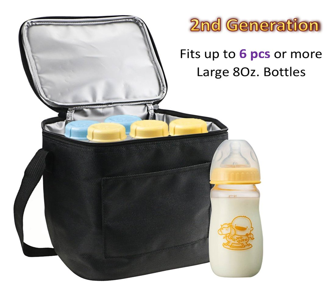 Baby Bottle Bags for Travel, Lexvss Breastmilk Insulated Cooler Tote Storage, Reusable Breast Milk Baby Bottle Cooler Bag (Fits up to 6 Large 8Oz. Bottles)【Black】 (Standard Size)