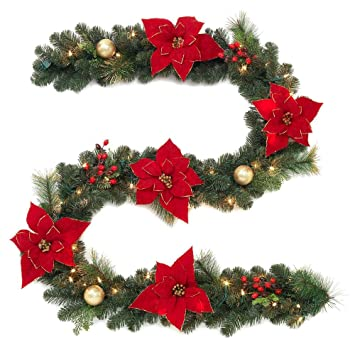 Home Accents Holiday 9 Ft Pre Lit Artificial Christmas Garland Beautifully Decorated With