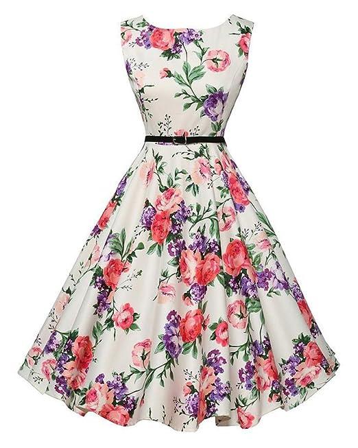 GUOCU Las Mujeres de Cintura Alta Estampada Flores Años 50 Vintage Estilo Hepburn Vestidos Fiesta Cóctel