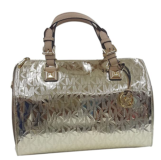 1f3bed12594c MICHAEL Michael Kors Womens Grayson Mirror Metallic Satchel Handbag Gold  Large  Amazon.ca  Clothing   Accessories