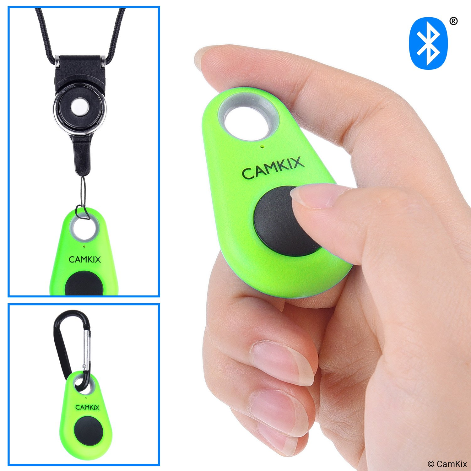 CamKix Camera Shutter Remote Control With Bluetooth Wireless Technology - Lanyard with Detachable Ring Mount - Carabiner - Pictures and Video from up to 30 ft (10 m) compatible with iPhone/Android
