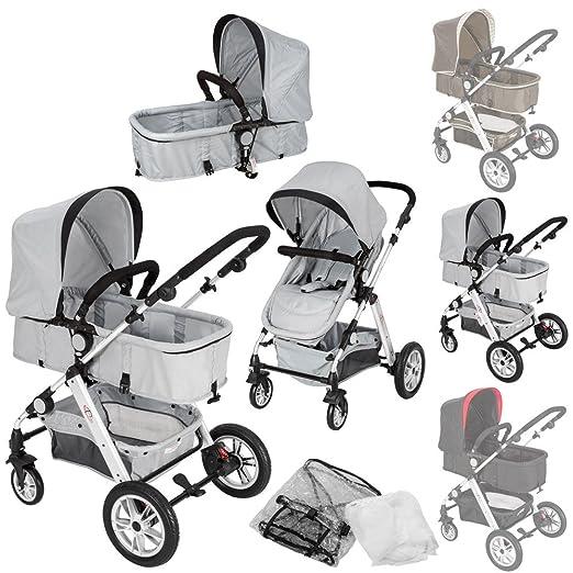 TecTake 2 en 1 Silla de paseo aluminio coches carritos para bebes convertible con protección contra mosquitos y protección contra lluvia - disponible en ...