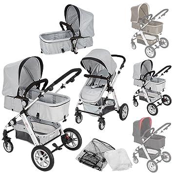 TecTake 2 en 1 Silla de paseo aluminio coches carritos para bebes convertible con protección contra mosquitos y protección contra lluvia - disponible ...