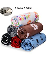 Comsmart Warm Paw Print Blanket/Bed Cover for Dogs and Cats, 6 Pack of 24x28 Inches