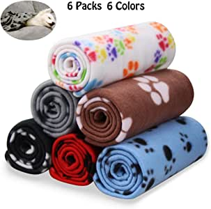 (6 Pack of 60cm x 70cm) - Comsmart Puppy Blanket Warm Dog Cat Fleece Blankets Pet Sleep Mat Pad Bed Cover with Paw Print Soft Blanket for Kitties Puppies and Other Small Animals