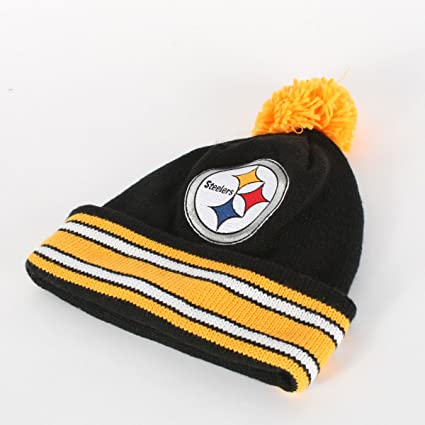 18cfb7ac6c0 NFL Mitchell   Ness Pittsburgh Steelers Black-Gold Throwback Jersey Striped  Cuffed Knit Beanie