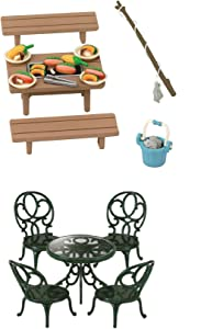2 Outdoor Eating Sets - Picnic Theme - BBQ and Garden Table with Chairs Sets (Japan Import)