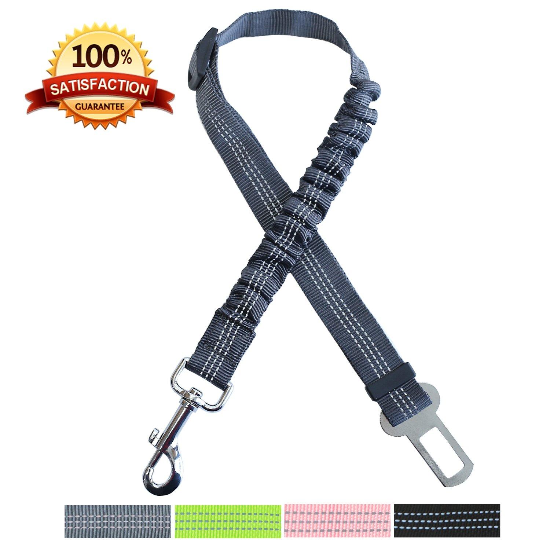 AMZNOVA 2 Pack Dog Seat Belt, Adjustable Dog Car Restraint with Elastic Nylon Bungee Buffer for Pets Safety, Reflective Pet Seat Belt Universal for Most Cars, 4 Colors