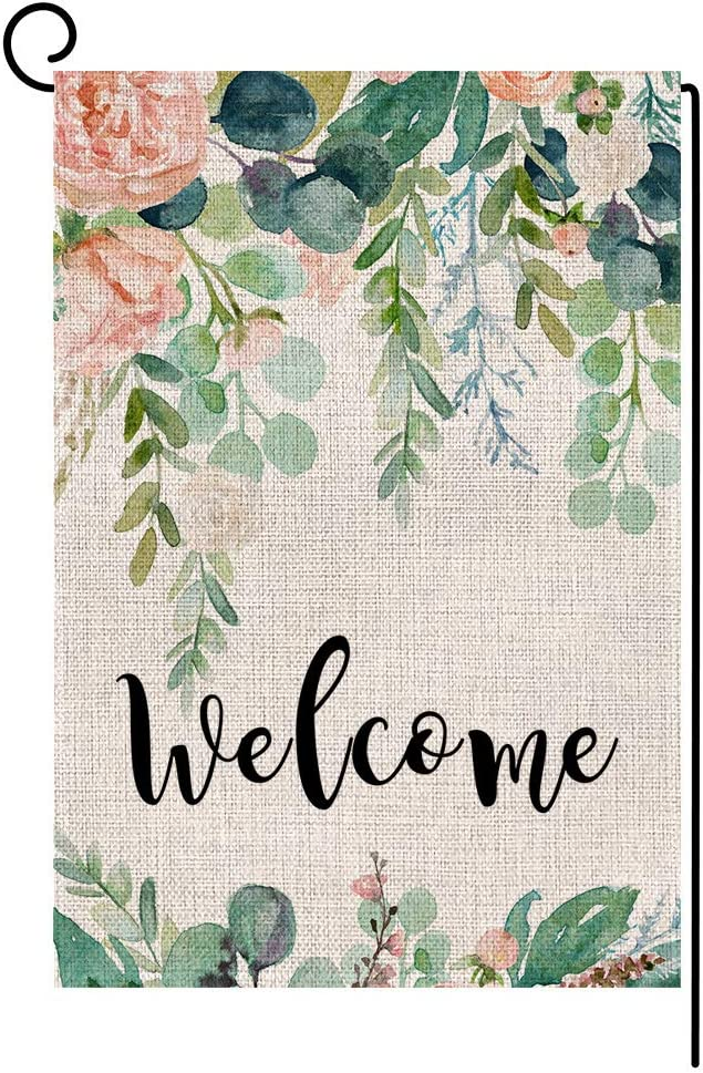 Wedding Birthday Flower Welcome Garden Flag Small Vertical Double Sided 12.5 x 18 Inch Green Leaves Burlap Yard Outdoor Decor
