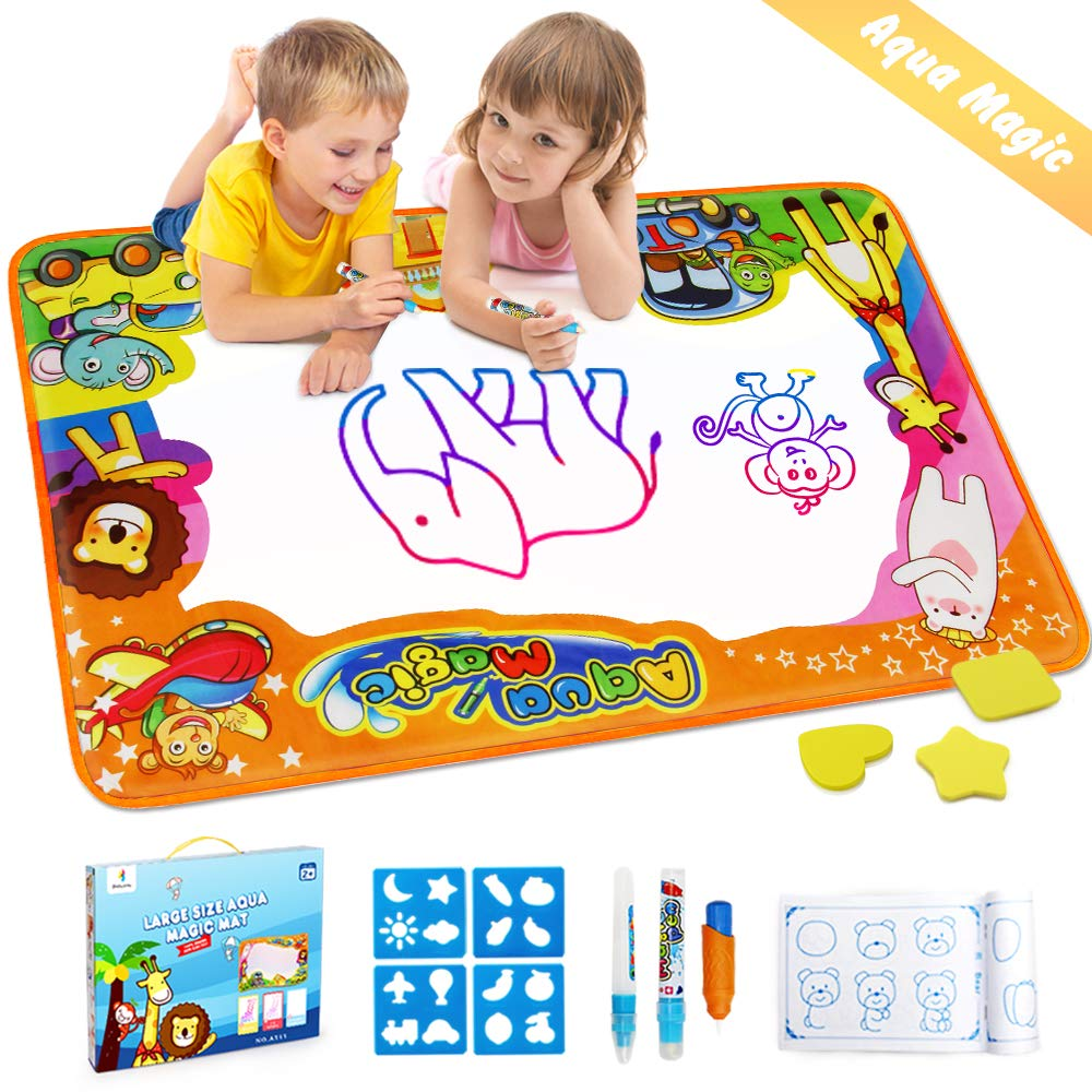 Betheaces Water Drawing Mat Aqua Magic Doodle Kids Toys Mess Free Coloring Painting Educational Writing Mats Xmas Gift for Toddlers Boys Girls Age of 2,3,4,5,6 Year Old 34.5'' X 22.5'' in 6 Colors
