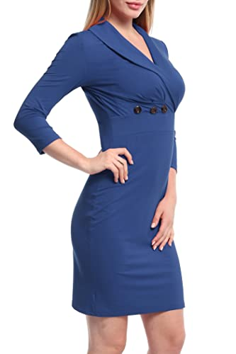 Ninedaily Women 3/4 Sleeve Lapel Neck Button Bodycon Wear to Work Pencil Dress