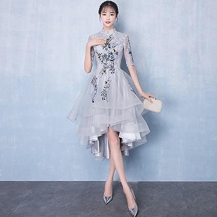 bfc25f68c8 WCZ Vestido de Noche de Banquete Elegante Cheongsam Corto Corto Vestido de  Vestir Vestido Largo Vestido
