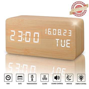 Alarm Clock, Wood Alarm Clock Digital Clocks For Bedroom Beside LED Wooden  Clock Small Desk