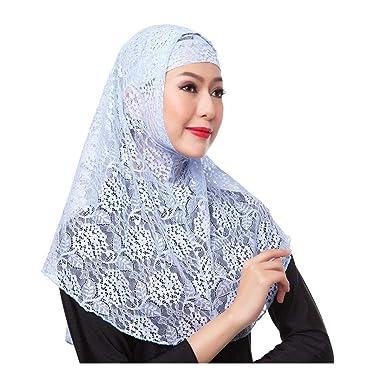Hzjundasi Women Muslim Hijab Headscarf - Lace Headgear Dubai Saudi