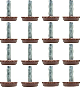 Furcoitur 16Pcs Leveling Feet Adjustable Furniture Levelers, 5/16 Inch Threaded Shank Leg Leveler for Table Chairs Leg Levelers Wood Floors Protectors, Brown