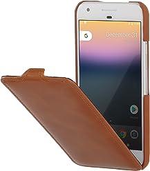StilGut UltraSlim Case, Custodia di Pelle per Google Pixel Originale. Flip-Case Sottile Verticale in Pura Pelle, Cognac