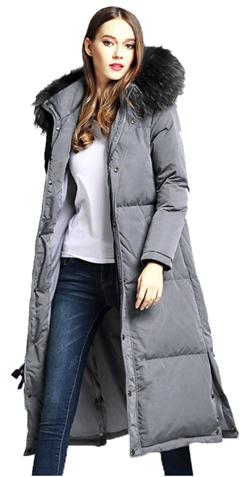 Women's Thicker Down Jacket With Removable Hood Fur For Winter (XXL, Grey) by unkonw