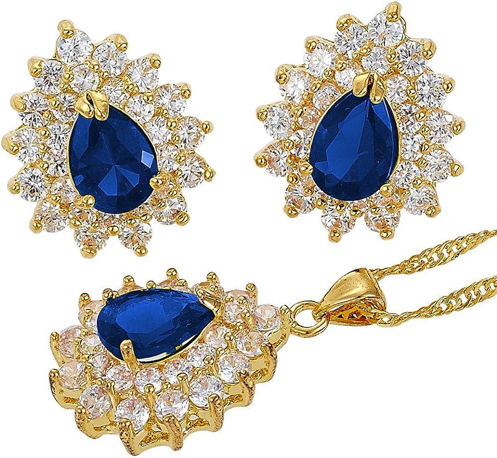Zafiro azul flor de la corona de pera Corte Collar Colgante Pendientes Joyer¨ªa Set