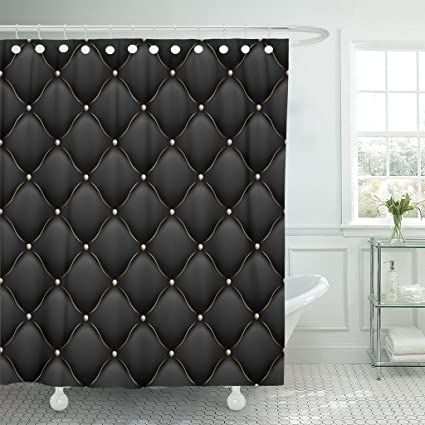 Emvency Shower Curtain Black VIP Upholstery Gloss Quilted Pattern True Luxury With Gold Thread And Also
