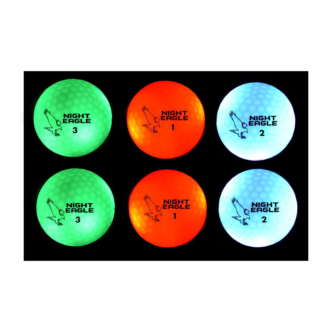 Night Eagle CV LED 光で点灯 ゴルフボール タイマーなし 6個入り B01BULQBL4 2xGreen,2xRed,2xBlue 2xGreen,2xRed,2xBlue