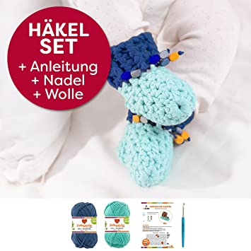 Häkel-Set DIY Babyschuhe inkl. einfacher Häkelanleitung + ...
