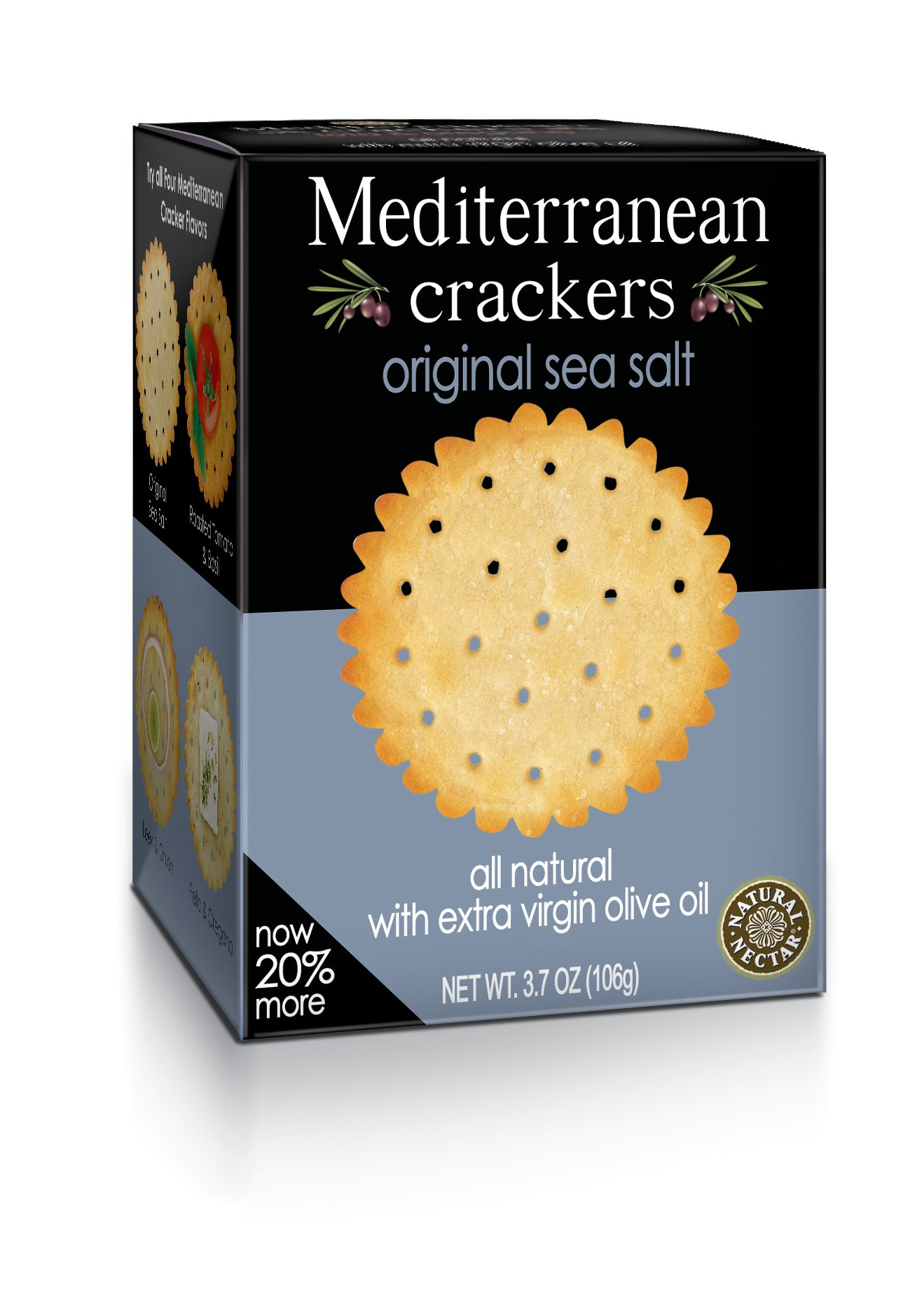 Natural Nectar Mediterranean Crackers, Original Sea Salt, 3.7-Ounce Packages (Pack of 12)