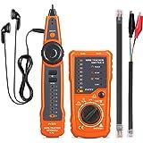 INTEY Testeur de Câble RJ11 RJ45 Détecteur de Câble Testeur de Ligne Multifonctionnel pour Collation de Câble Réseaux Test de Ligne Téléphonique Indication de Faible Capacité de Batterie