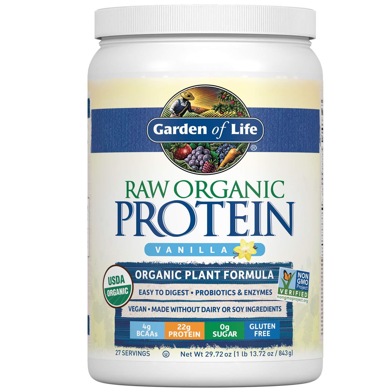 Garden of Life Raw Organic Protein Vanilla Powder, 27 Servings - Certified Vegan, Gluten Free, Organic, Non-GMO, Plant Based Sugar Free Protein Shake with Probiotics & Enzymes, 4g BCAAs, 22g Protein
