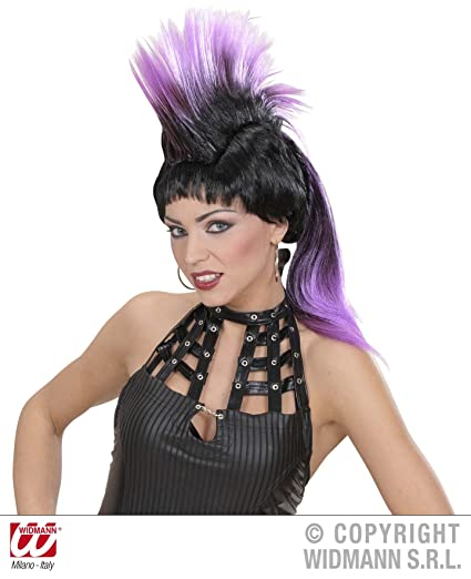 Gran Peluca Punk Afilado Negro/Morado punky Wig Fasching