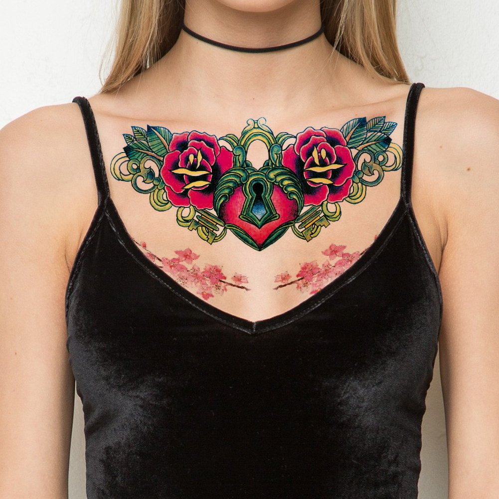 TAFLY Heart Lock and Flower Sexy Chest Tattoo Big Size Body Art Temporary Tattoo Exotic Sexy Tattoo Stickers 3 Sheets