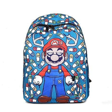 Kerlana Unisex Super Mario 3D Juego de impresión School Bag Mochila de Lona Portátil Mochilas Escolares